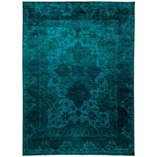 """New Hand-Knotted Turquoise Overdyed Rug - 9'10"""" X 13'4"""""""