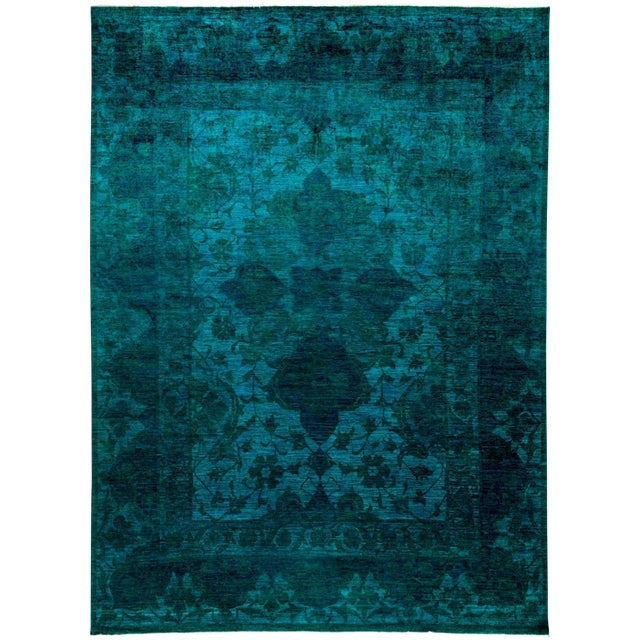 "Image of New Hand-Knotted Turquoise Overdyed Rug - 9'10"" X 13'4"""