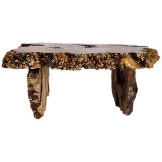 1960s Live Edge Burled Wood Coffee Table