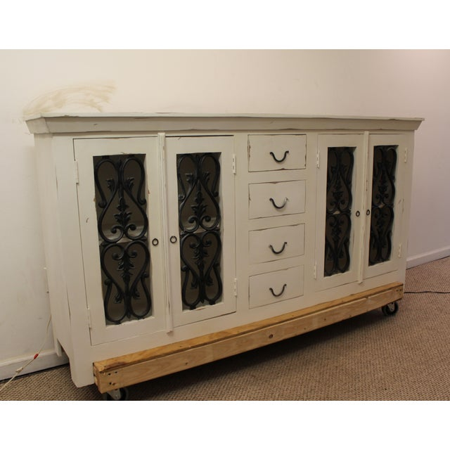 french country four door wrought iron white sideboard. Black Bedroom Furniture Sets. Home Design Ideas