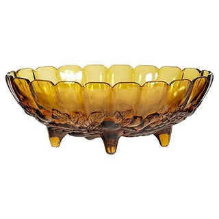1960s Fruit Amber Glass Bowl