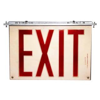 Vintage Plexi Glass & Aluminum Exit Sign