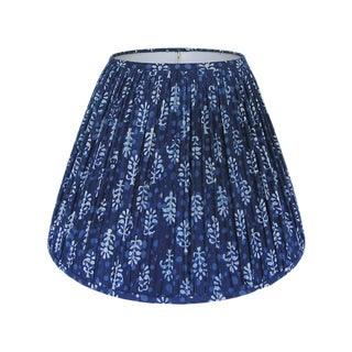 Indigo Blue Block Print Gathered Lamp Shade, Large