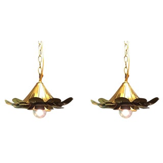 "Pair of Feldman Brass ""Lotus"" Pendant Chandeliers"
