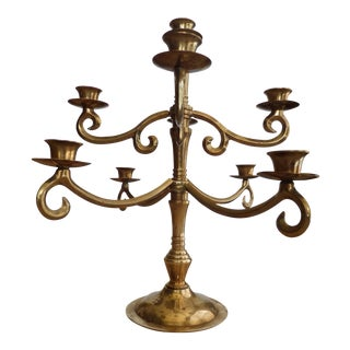 Solid Brass Candelabrum With 9 Candle Holders