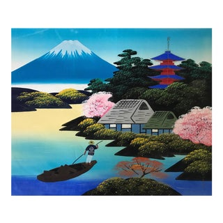 'Blue Fuji' Painting on Silk
