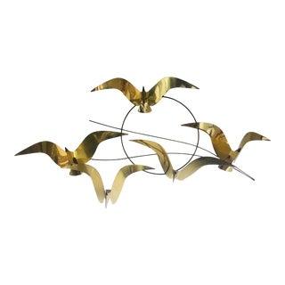 Brass Curtis Jere Birds in Flight Wall Sculpture