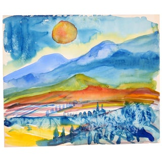'Sunset Over the Mountain' Watercolor