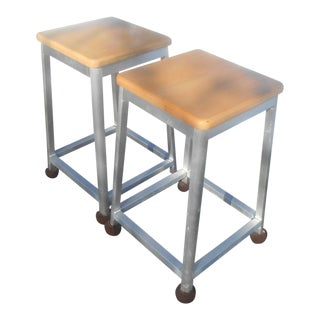 Brushed Aluminum Bar Stools - A Pair