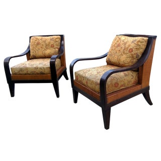 Palacek Rattan & Seagrass Club Chairs- Pair