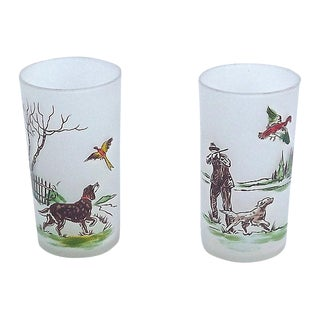 Vintage Hunting Dog Glasses - A Pair