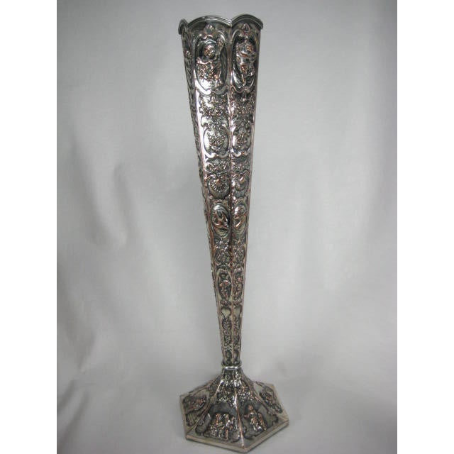 1890s E G Webster & Son Silverplate Trumpet Vase - Image 3 of 11