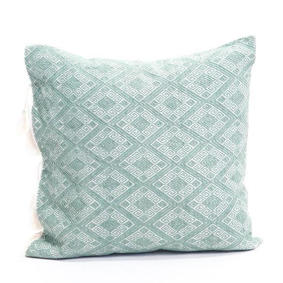 "Image of Sage Green Diamond Handwoven Pillow - 18""x18"""