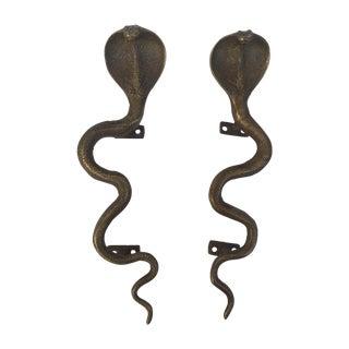 Brass Cobra Door Handles - Pair
