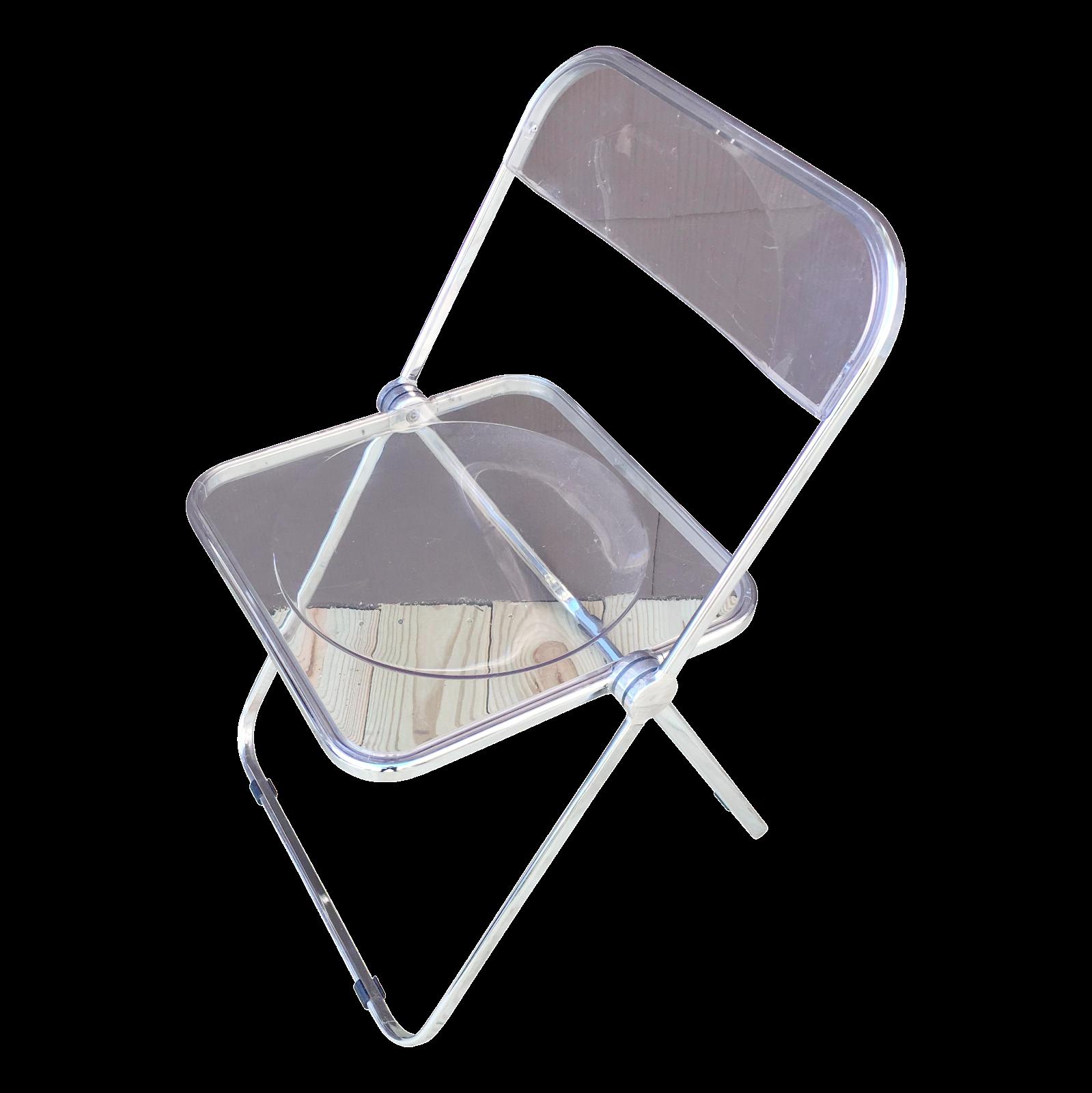 Italian Plia Acrylic Folding Chairs Set of 4