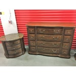 Image of Solid Dark Wood Dresser with Mirror