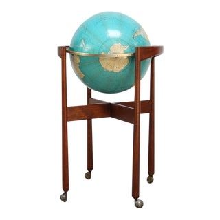 Jens Risom Sculptural Walnut Globe Stand on Casters