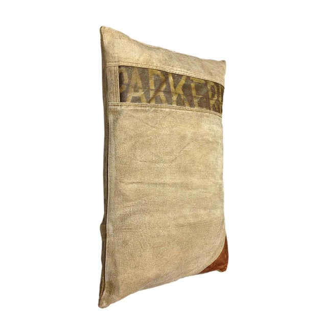 Image of Rectangular Pillow With Leather Appliqué