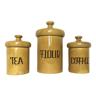 Vintage Pottery Kitchen Canisters - Set of 3
