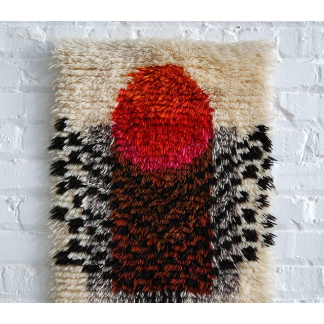 1960's Denna Rya Vintage Abstract Wool Tapestry/Rug -- 1′8″ × 2′9″ - Image 3 of 8