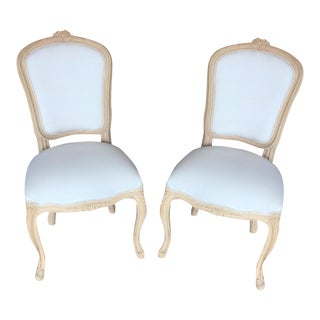 Hand Carved Unfinished French Style Chairs - Pair