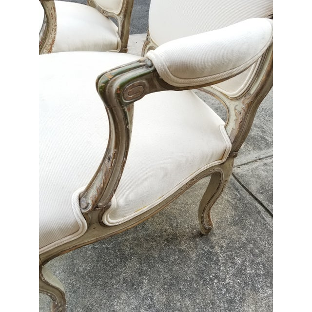 Vintage French Louis XV Style Armchairs - a Pair - Image 7 of 11