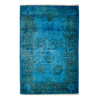 """Overdyed Hand-Knotted Rug - 3'1"""" x 4'6"""""""