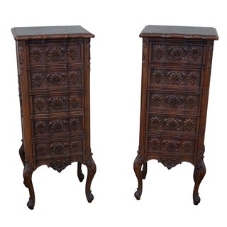 Antique Louis XV Carved Walnut 5 Drawer Chests - A Pair