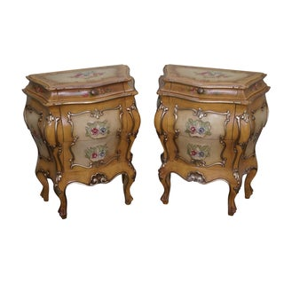 Vintage Italian Rococo Painted Bombe Chests - Pair