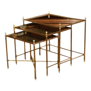 Early 20th Century French Brass & Églomisé Nesting Tables - Set of 3