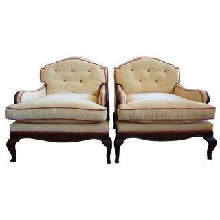 Pale Yellow Chenille Bergere Chairs - A Pair