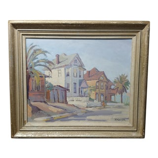 "Fritz Kocher ""Sunset Blvd and Bunkerhill L.A. 1959"" Original Oil Painting"