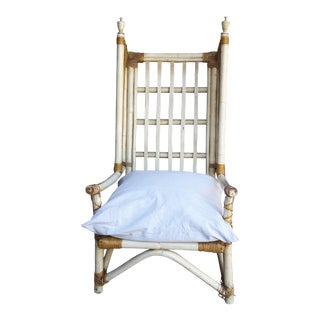 Whimsical Tall Rattan Chair With Down Filled Cushion