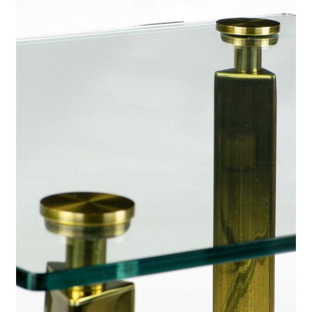Postmodern Brass And Glass End Table - Image 3 of 6