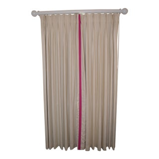 Ivory Linen Curtains With Black Out Liners and Curtain Rods
