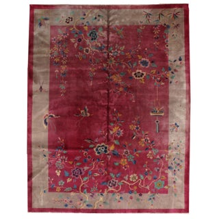 1920s Hand Made Antique Art Deco Chinese Rug - 8′10″ × 11′7″