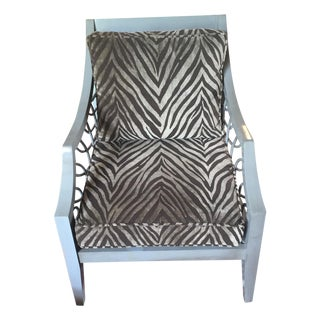 Sam More Zebra Print Wood Chair