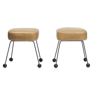 Vintage Leather & Iron Stools- A Pair