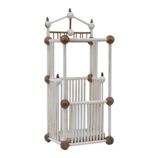 White Painted Stick & Ball Umbrella Stand