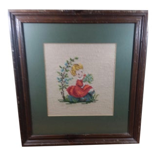 Vintage Cross Stitched Little Girl