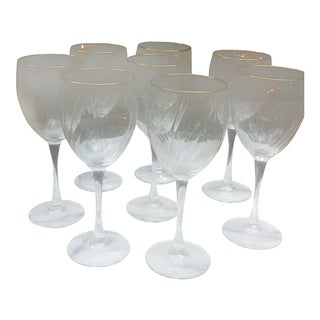 Gold Trimmed Wine Glasses - Set of 8