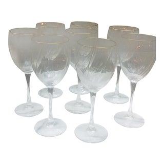 Gold Trimmed Wine Glasses - Set of 8