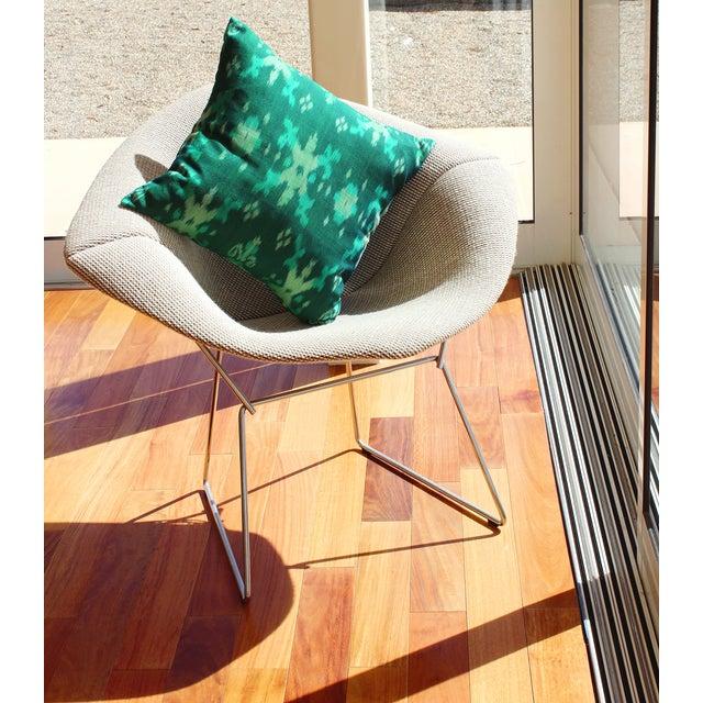 Green Boho Handwoven Ikat Pillow - Image 5 of 5