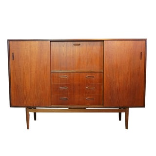 Danish Teak Credenza / Mirrored Dry Bar