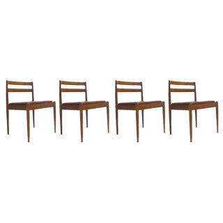 Set of Four Red Tufted Leather Chairs by Kai Kristiansen for Magnus Olesen