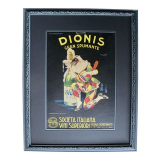 Framed Italian Art Deco Spumante Advertisement, 1920's