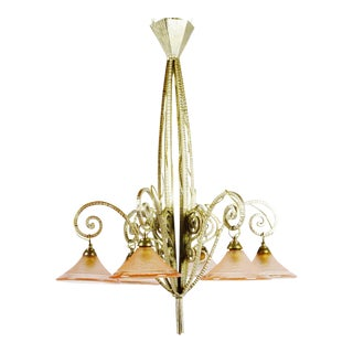 Pink & Champagne French Art Deco Chandelier