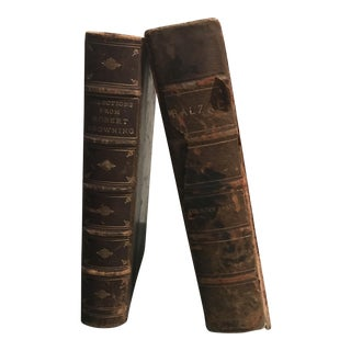 Antique Leather Books Balzac and Browning - Set of 2