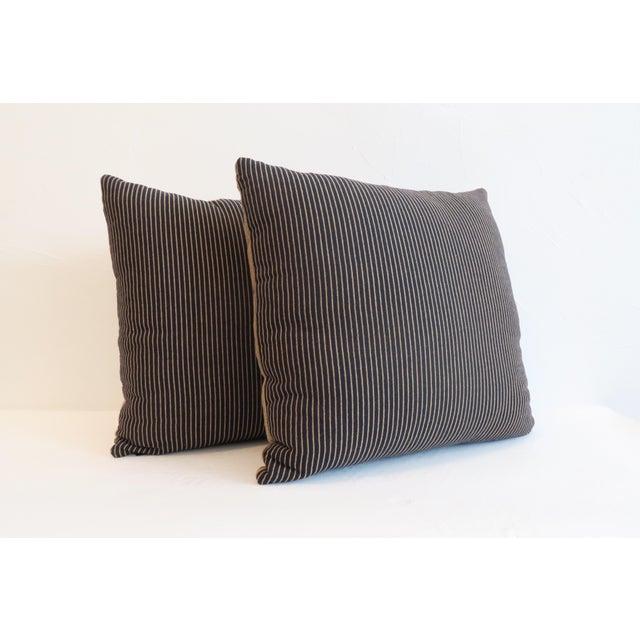 Custom Navy & Tan Stripe Pillows - A Pair - Image 2 of 5