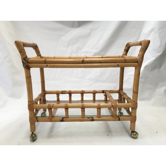 Vintage Bamboo Bar Cart - Image 2 of 5